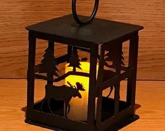 Moose Steel Candle Lantern