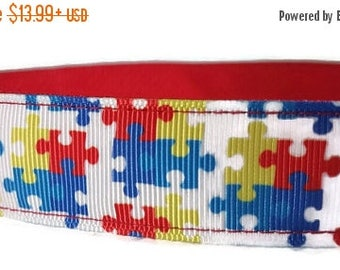 """SALE Autism Awareness Nylon Dog Collar * 1"""" Width Only * Buckle Collar * Martingale Collar * Chain Martingale"""