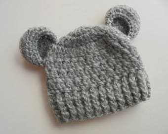 Baby bear hat Gray bear hat Baby animal hat Baby hat with ears Baby bear beanie Wool baby hat Baby boy hat Newborn bear hat Baby boy beanie