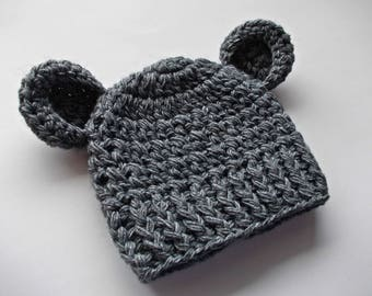 Wool baby hat Baby bear hat Gray bear hat Baby boy hat Bear beanie Baby animal hat Baby hat with ears Wool bear hat Newborn boy outfit