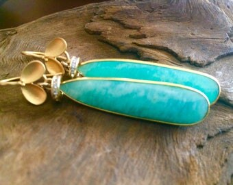 Amazonite and gold vermeil earrings