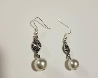 Silver and Pearl Elegant Earrings, Pearl Wedding Earrings