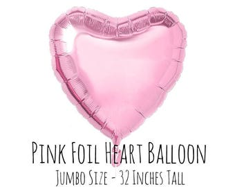 "32"" Metallic Pink Foil Mylar Heart Balloon, Heart Shaped Balloon, Engagement Party, Bridal Shower, Anniversary, Wedding Decor, Reception"