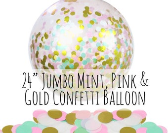 "Mint, Pink and Gold Confetti Balloon, 24"" Big Balloon, Pink Tissue Paper Confetti Filled Balloon, Party Decoration, Wedding, Photo Prop"