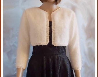TO order: Off-white Angora and silk women Bolero Cardigan