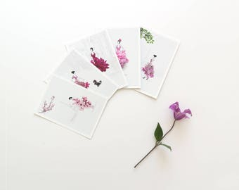 Fashion Illustration, Postcard Set, Thank you Note Cards, Floral Notecards, Gift For Her, Cute Girlfriend Card for, Cute Card for Wife