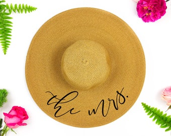 Mrs Floppy Sun Hat - Sequin Sun Hat - Bride Hat - Beach hat - Custom floppy hat - Bride to be hat - wifey hat - Just Married Hat - Honeymoon