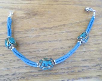 Handmade Tibetan  Silver Prayer Bracelet Bohemian Turquoise Shard 7 3/4 Inches, Wt. 11.7 Grams