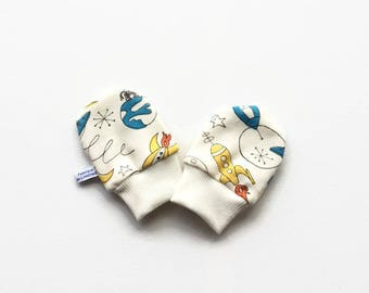 Organic baby mittens, baby scratch mitts, off white knit fabric with retro rockets and planets. Baby Gift Boy or Girl Hand Covers