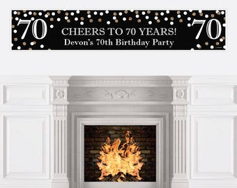 70th Birthday Party Banner - Birthday Party Decorations - 70th Birthday Decoration - Adult 70th Birthday - Black & Gold Personalized Banner