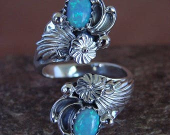 Navajo sterling silver and blue opal adjustable spoon style ring size 6.5
