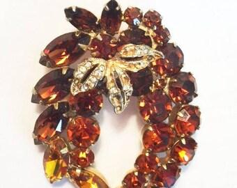 Weiss Vintage Amber Rhinestone Brooch