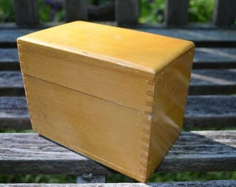 Vintage Wood Recipe Box - 3 x 5 Index Cards - Pine - Metal Hinges with Dovetail Corners - Slightly Rounded Top - Honey Colored Stain