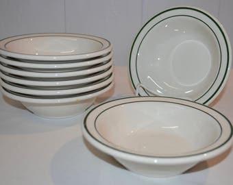 "Buffalo China - Cereal Soup Bowls - 6.5"" Diameter - SET of 8 - Restaurant Ware - Railroad China - Vintage White China with Green Bands"