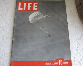 Life Magazines 1937 March 22 Parachute Test With Dummy Vintage Magazines and Advertising