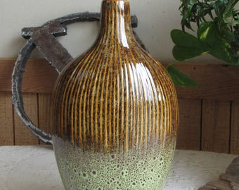 Green and Brown Pottery Jug or Vase Vintage Home Décor and Florist Ware