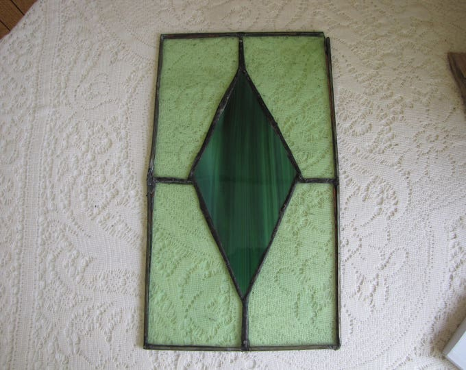 Antique Green Stain Glass Panel Diamond Shaped Design Industrial Salvage Rustic Home Decor