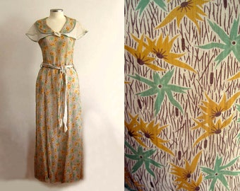 RARE 1930s Dress / 30s Cotton Maxi Gown / Green and Mustard Floral Print