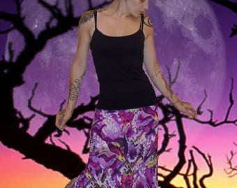 Long skirt in stretch mesh 'purple abstract...'