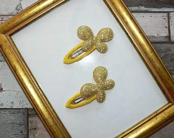Pair hair clips Butterfly gold