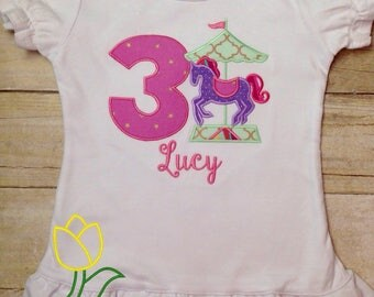 Carousel Horse Birthday Shirt Bodysuit / Toddler Shirt First Birthday Second Birthday Third Birthday