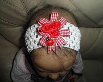 """""""Red rose bouquet"""" reborn or baby headband (0-4 years)"""