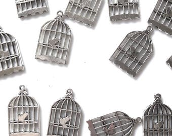 Set of 3 beautiful cage with bird 2.5 x 1.5 cm
