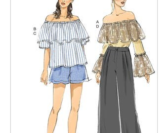 Vogue Sewing Pattern V9257 Misses' Off-The-Shoulder Ruffle Tops, Wide-Leg Shorts And Pants