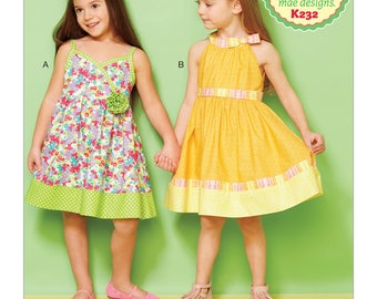 Kwik Sew Ellie Mae Sewing Pattern K0232 Girls' Lined Dresses with Contrast Bands