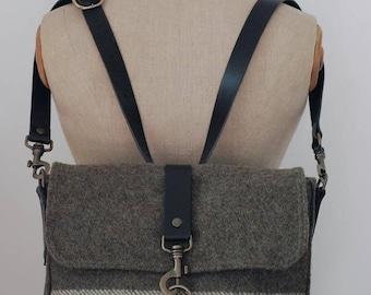Vintage Italian Military Blanket-Crossbody bag/Backpack-100% wool with Italian leather