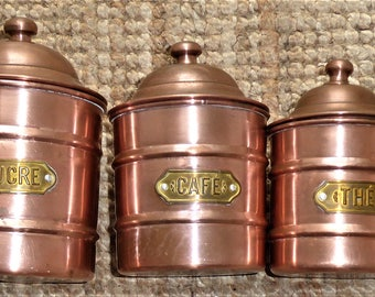 Vintage French Copper Kitchen Canisters  Retro Kitchenware