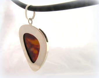 Silver guitar pick holder pendant