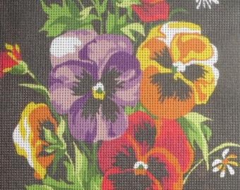 Needlepoint tapestry kit, FLOWERS, PANSIES, 30 x  40 cm, V005