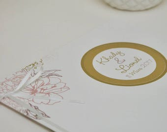 """Guest book """"Camellia"""" elegant pink and gold"""