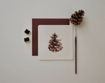 Card with pretty Pine Cone, greeting card, pine cone, card for message, invitation, map art, nature, forest