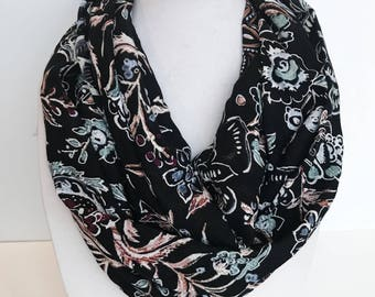Black Floral Scarf, Boho Chic Scarf, Lightweight Scarf, Spring Scarf For Women Rayon Scarf Whimsical Print Scarf Birthday Gift For Mom
