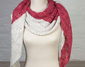 Red grey and Merino lace shawl