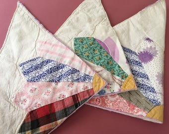 3 Pieces of vintage quilt for projects crafts patchwork
