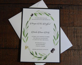 Olive Wedding Invitation, Floral Wedding Invitation, Olive Branch Invitation, Olive Branch and Black Invitation, Olive Branch Wedding Invite