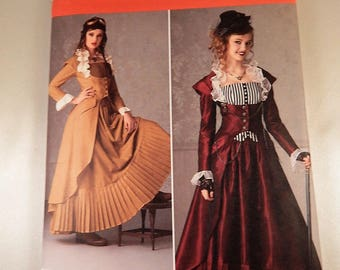 Victorian Era Steampunk Gown Costume Pattern Craft Sewing Halloween Pattern Simplicity 2172 Adult Size 6 8 10 12  Like New