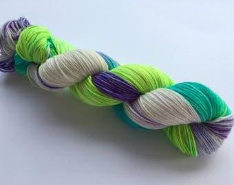 OOAK Hand Dyed Superwash BFL/ Nylon Sock Yarn