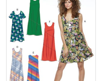 McCall's Pattern M7592 Misses' Pullover Bias-Cut Tank and Short-Sleeve Dresses