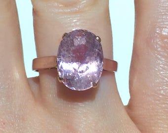 18k 5.17Ct PINK Morganite Pink Beryl Pink Emerald Antique style 18k rose gold ring
