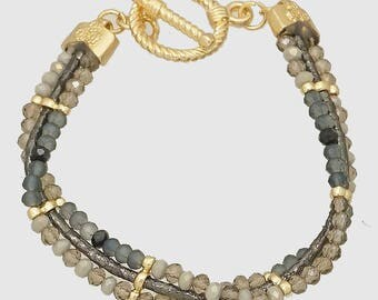 3 Row Gold and Gray Faceted Glass Bead Bracelet with Toggle Clasp
