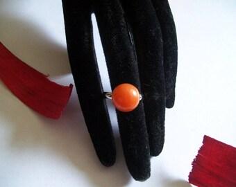 orange cabochon Adjustable ring