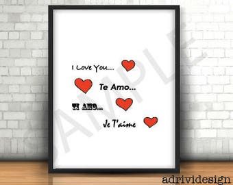 I love you, four languages, te amo, ti amo, je t'aime,  inspirational quote, wall art, art decor, any occasion,red hearts, for him, for her