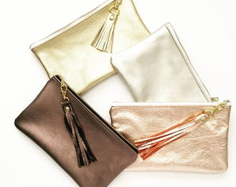 Metallic Clutch, Rose Gold Leather Clutch, Metallic Clutch, Gold Bridal Clutch, Gold Wedding Clutch, Zippered Leather Clutch Date Night Bag
