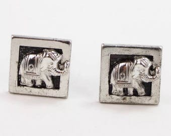 Vintage Elephant Cuff Links Sterling Silver