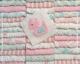 "Chenille fabric quilt squares 42-6"" blocks, Aqua & Pink, duckie, very shabby chic, vintage bedspread fabric"