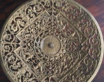 Vintage Cast Iron EMIG Pedestal Display Stand Greek Mythology